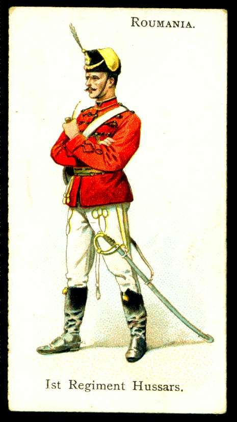 "Roumania, 1st Regiment Hussars - Wills's Cigarettes, ""Soldiers of the World"" (series of 100 issued in 1895) 