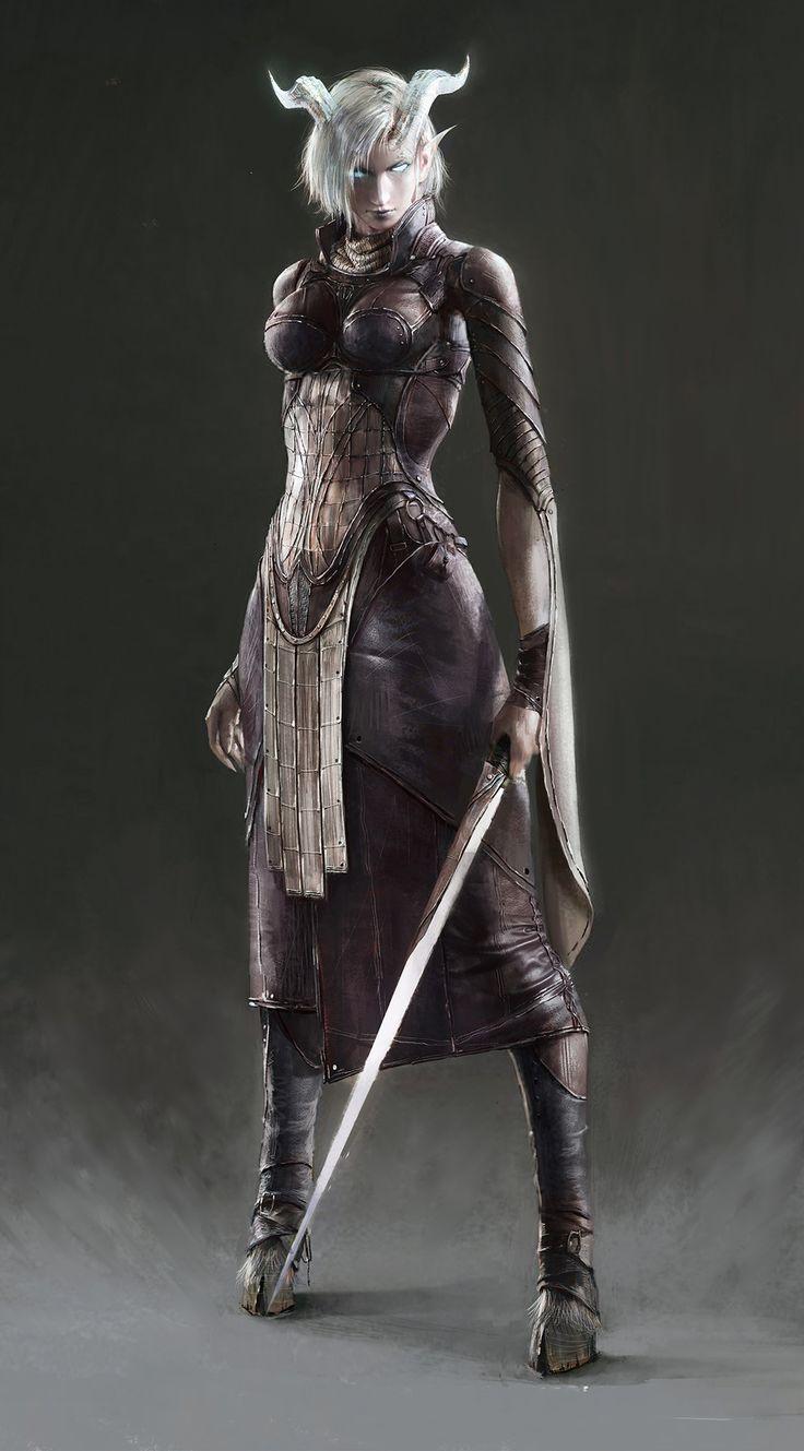 Draenei Female Warrior, jinglin Xu on ArtStation at https://www.artstation.com/artwork/d4zne