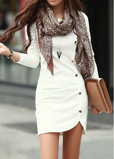 Long Sleeve White Sheath Dress with Button