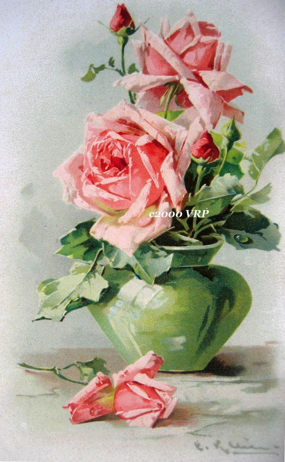 Print FREE SHIP Pink Cabbage Roses Green by VictorianRosePrints, $9.99