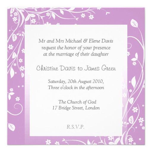 White flowers on lilac, subtle wedding invitation