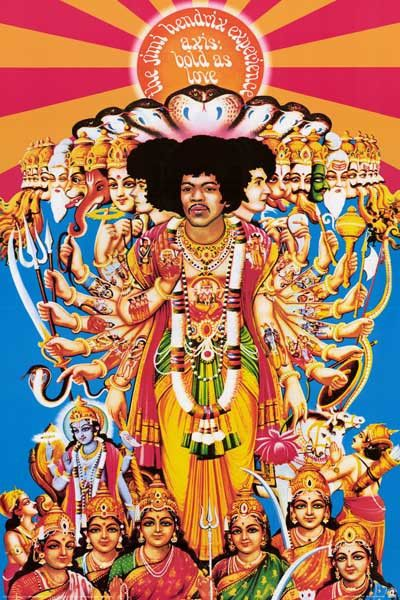 """A HUGE Jimi Hendrix poster of the gorgeously psychedelic album cover art from 1967's Axis: Bold As Love! Fully licensed. Ships Super Fast! 39x54 inches. """"Experience"""" the rest of our great selection of"""