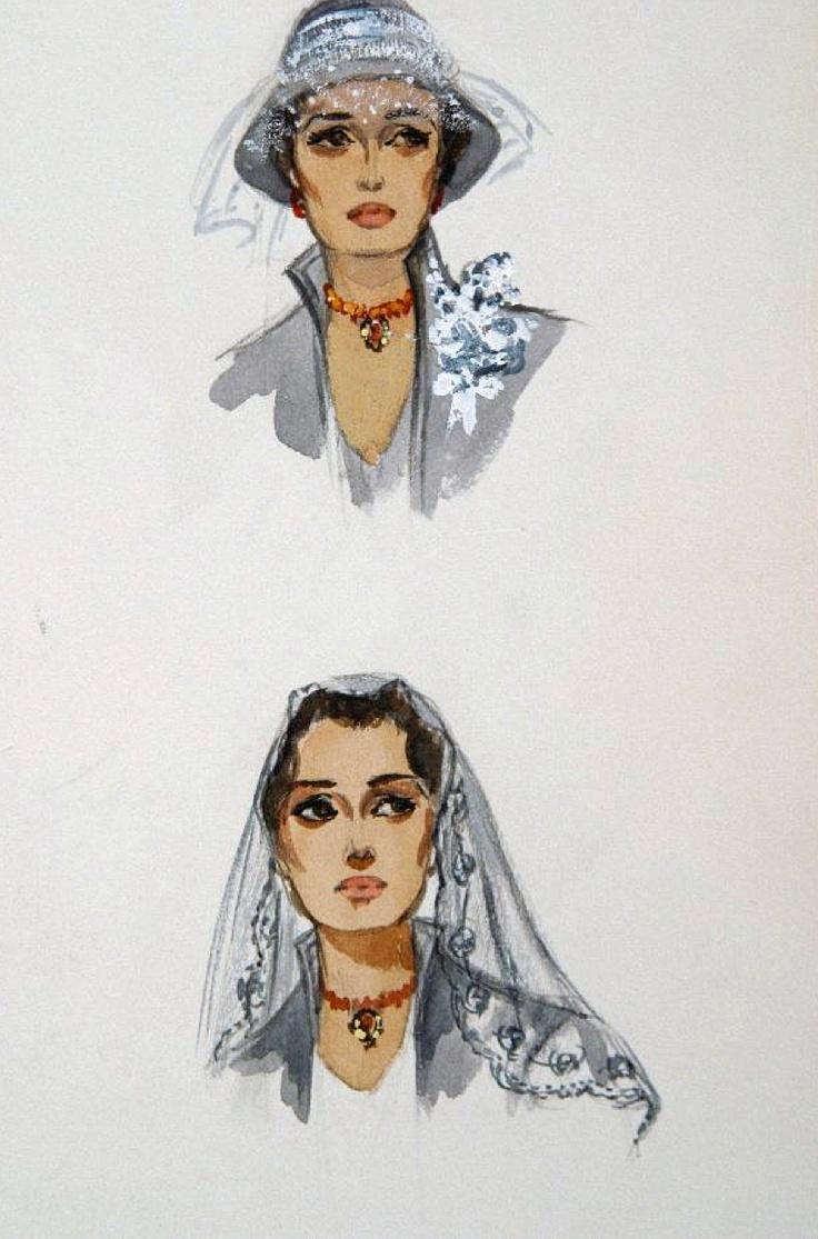 Edith Head sketch for Sophia Loren in The Black Orchid (1958)