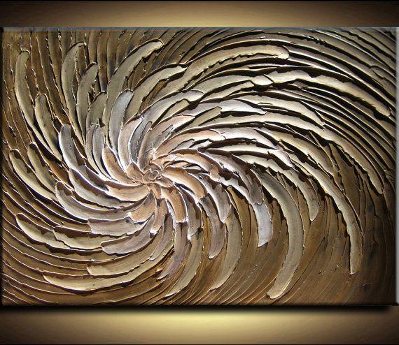 40 x 30 Original Abstract Texture Modern Brown by artoftexture