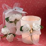White Rose Candle Wedding Favors