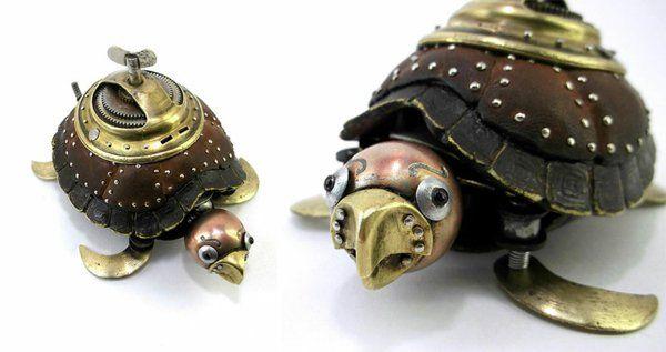 Gebrauchte Motorrad Teile recyceln skulpturen schildkröte