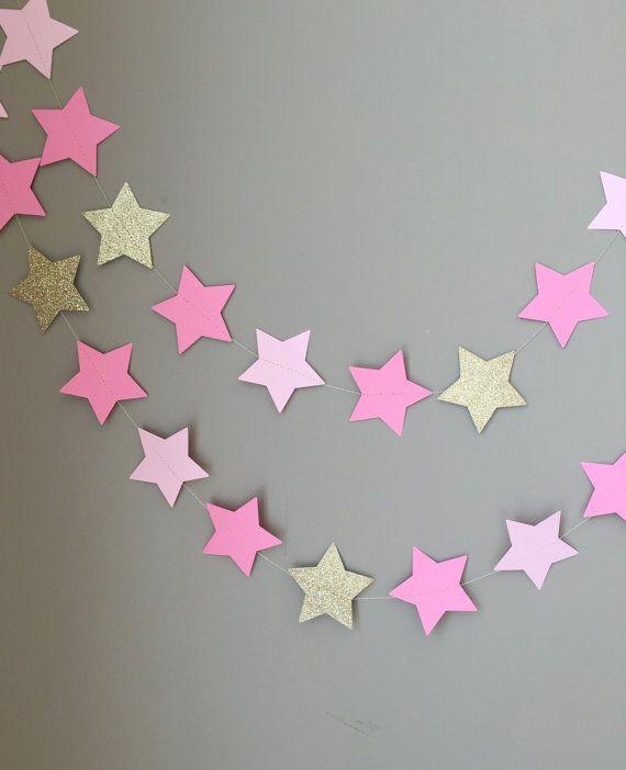 Twinkle Twinkle Little Star Garland Pink Baby by ConfettiBistro
