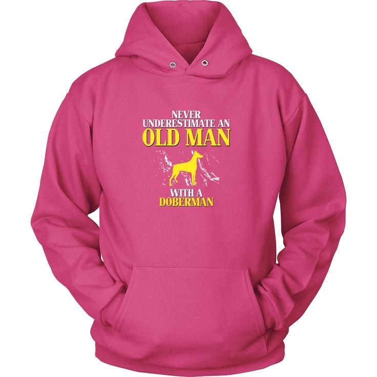 Doberman Shirt - Never underestimate an old man with a Doberman Grandfather Dog Gift