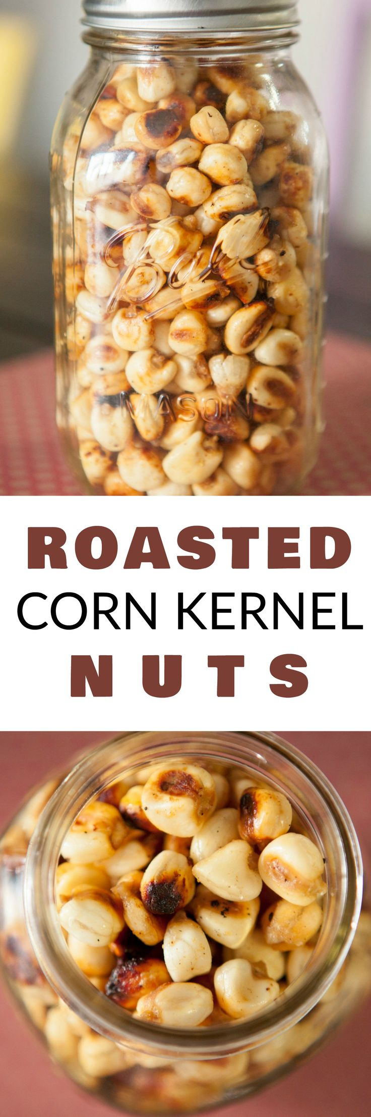 Homemade HEALTHY Roasted Corn Kernel Nuts that taste just like Corn Nuts you buy in the store!  This DIY recipe is easy to make and only uses 4 ingredients!  Bake them in the oven for 30 minutes for a healthy, perfect snack!