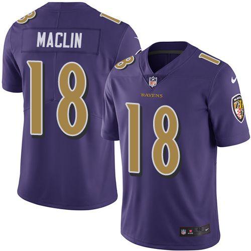 Men's Nike Baltimore Ravens #18 Jeremy Maclin Elite Purple Rush NFL Jersey