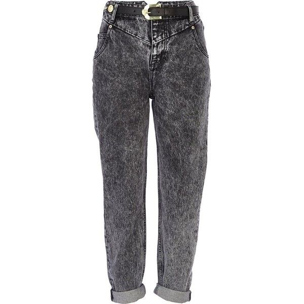 River Island Black acid wash slim Mom jeans (1.435 RUB) ❤ liked on Polyvore featuring jeans, pants, bottoms, trousers, sale, rolled jeans, acid wash jeans, flap-pocket jeans, river island and high rise skinny jeans