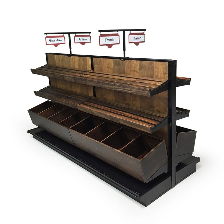 """Wood gondola shelving display for bakery. Center unit is 96""""W X 54""""H with slatted wood shelves. Double sided island unit."""