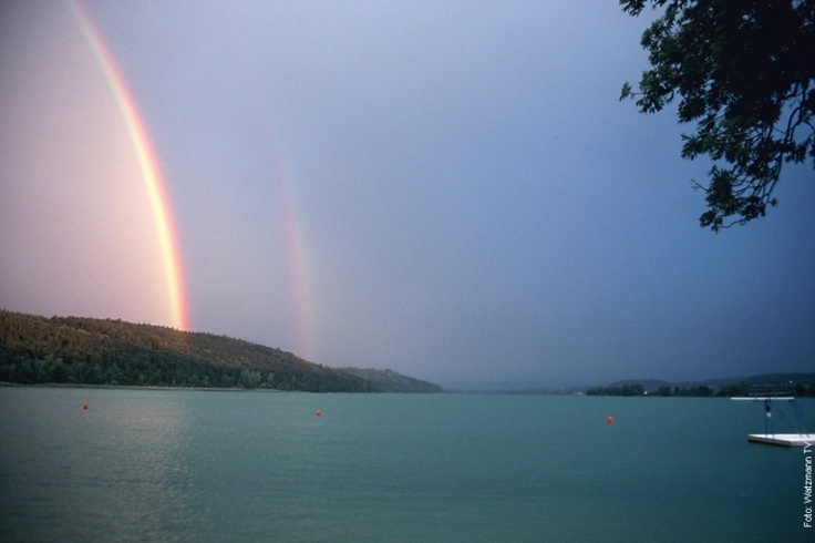 Tachinger See Upper Bavaria rainbow