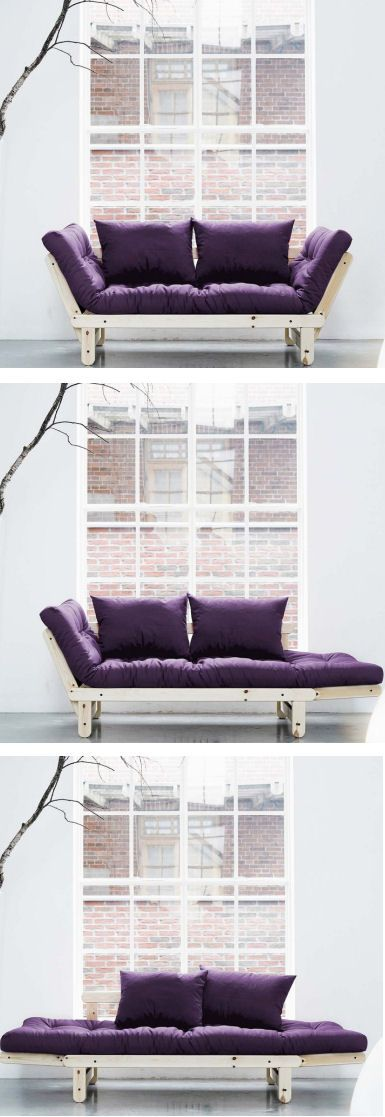 Purple Convertible Futon // can be a couch, a daybed chaise lounge, or an extra bed!