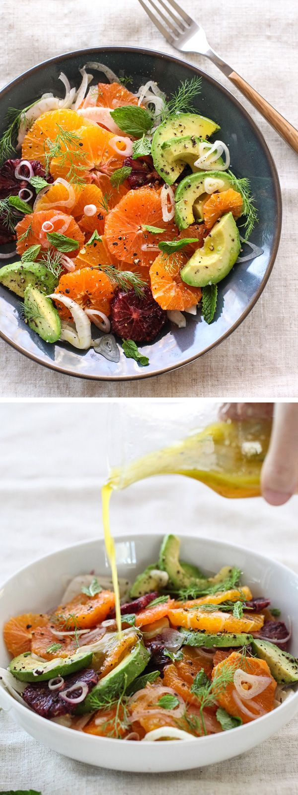 A favorite salad that goes from fall to spring with fresh citrus and avocado and champagne vinegar dressing