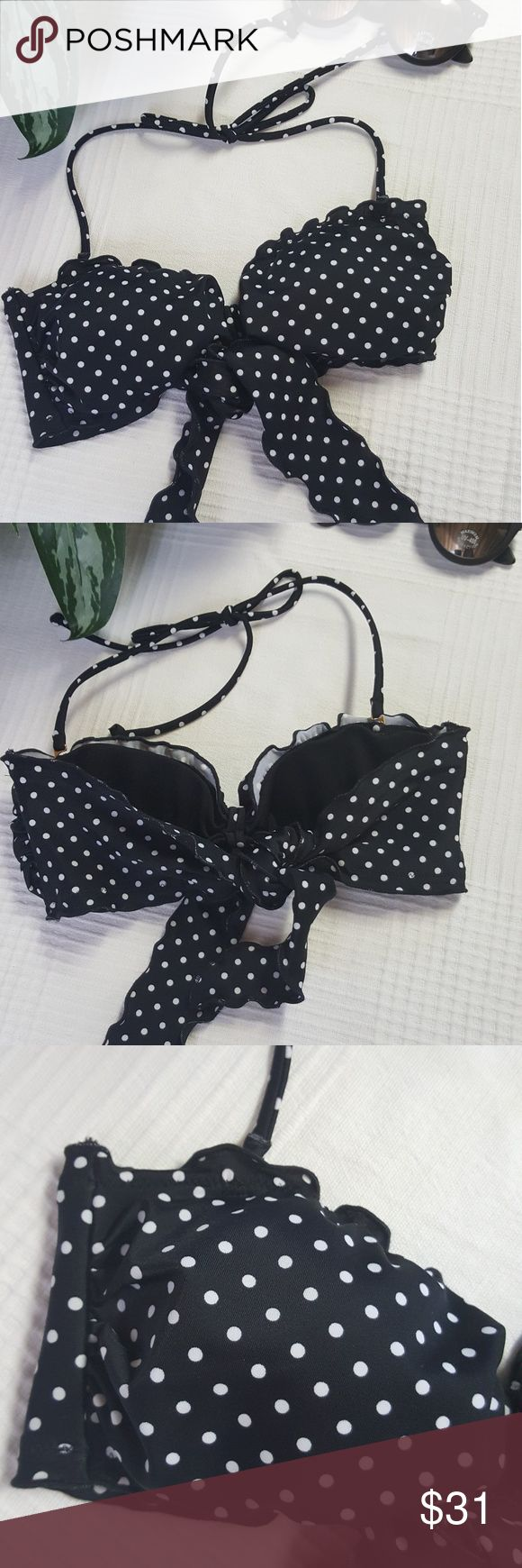 Victoria's Secret Polka Dot Bandeau Bikini Top New without tags. VS bandeau style bikini with halter strap. Black and white polka-dots. Size small. Victoria's Secret Swim Bikinis