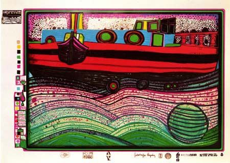 "Hundertwasser, ""Regentag on the Waves of Love"" 1971-72. Sheet No. 8 in the portfolio ""Look at it on a rainy day"" Silkscreen in 23 colors with metal imprints in 3 colors and an application of ground glass. Ed. of 3,000."