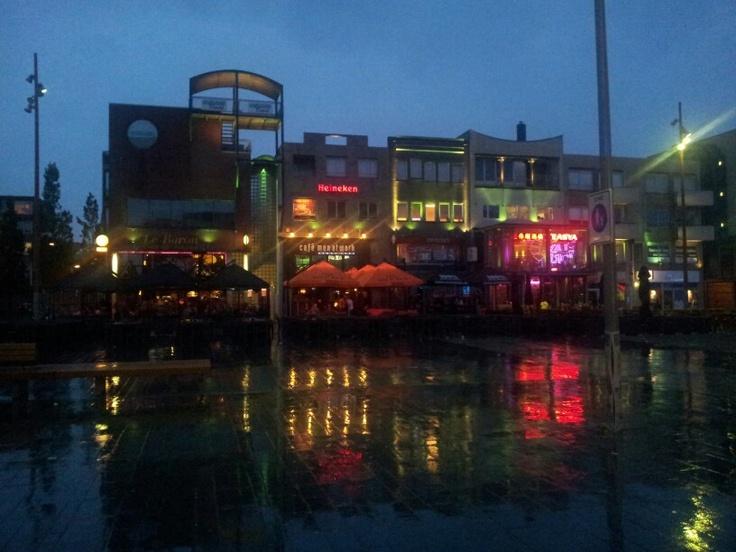 Almere city on a rainy night