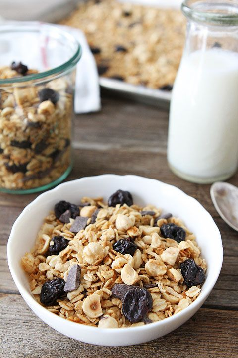 Hazelnut Granola with Dried Cherries and Dark Chocolate Recipe on twopeasandtheirpod.com Love this simple and sweet granola!