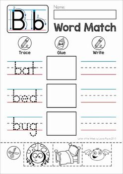 CVC Words Cut and Paste Matching Activity