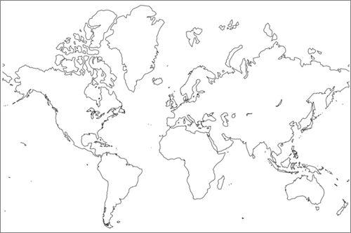 mapa mundi blanco para imprimir