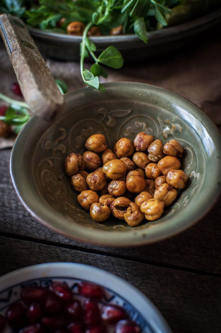 Salted paprika spiced crunchy chickpeas, perfect for a salad | heneedsfood.com