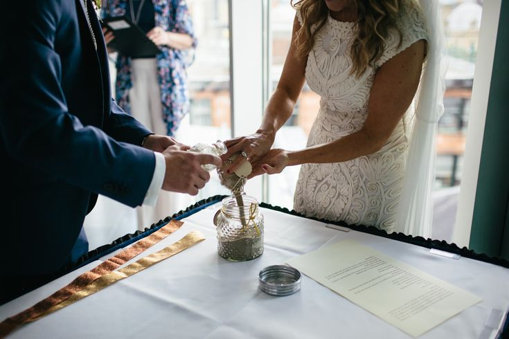Image by Caro Weiss - Intimate Humanist Wedding Ceremony At The Lighthouse Glasgow With Bride In House Of Fraser Dress And Gold Jimmy Choo Heels And Groom In Navy Suit From Kenneth Cole With Autumnal Inspired Wedding Decor And Art Deco Details