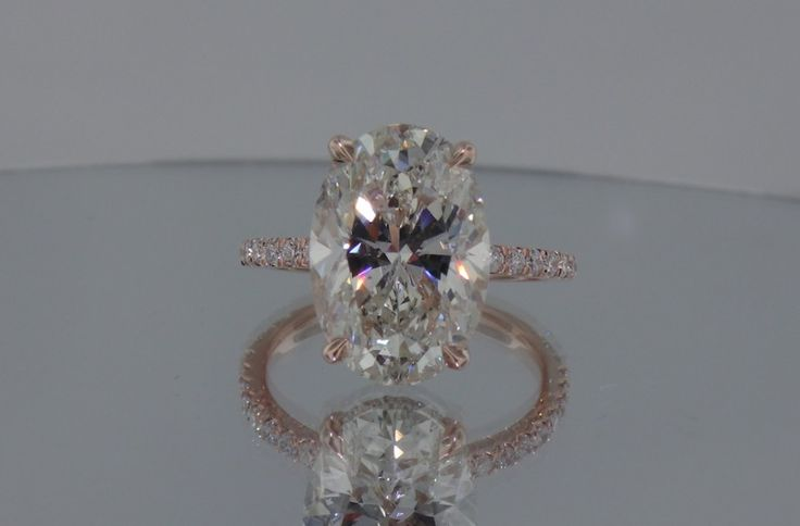 Josh Levkoff - Collection, Rings - Rose Gold Oval Custom Engagement Ring with MicroPave Diamonds   Josh Levkoff