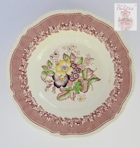 Red / Pink Transferware Rimmed Soup Bowl / Plate Vintage Floral w/ Hand Painted Flowers Ridgways