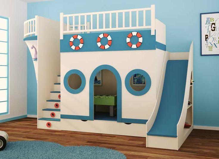 Dormitorio Barco Pirata II   Material: DM Densidad Media   Madera de DMCajones en las escaleras, cajon cama nido y estantes en el hueco del toboganSomier y colchon no incluidosPara cama de 90*190... Eur:6759 / $8989.47