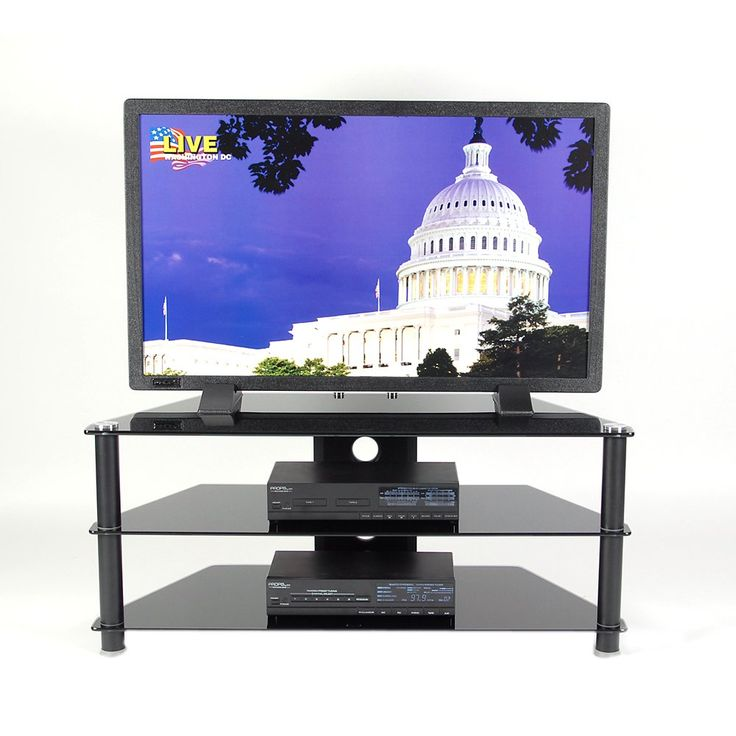 "RTA Home And Office Black Glass And Aluminum 42 Inch And Below Plasma Tv Stand Black Tempered Glass. The cord management system reduces unsightly wires. Stand will accommodate a 42"" flat panel television. Dimension: 20"" tall X 45.15"" wide X 18"" deep. Country Of Origin: China. Easy to assemble."