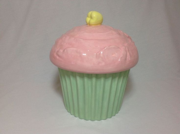 Large Cupcake Cookie Jar ~ Pink, Green and Yellow