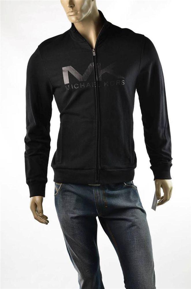 Michael Kors Black Sweater Jacket Mens Track Coat Full Zip  NWT Sz L NWT