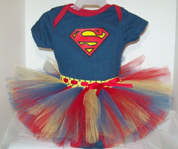 Adorable Superman infant girl onesie and tutu outfit. Available at CassieCottage  on Etsy.com