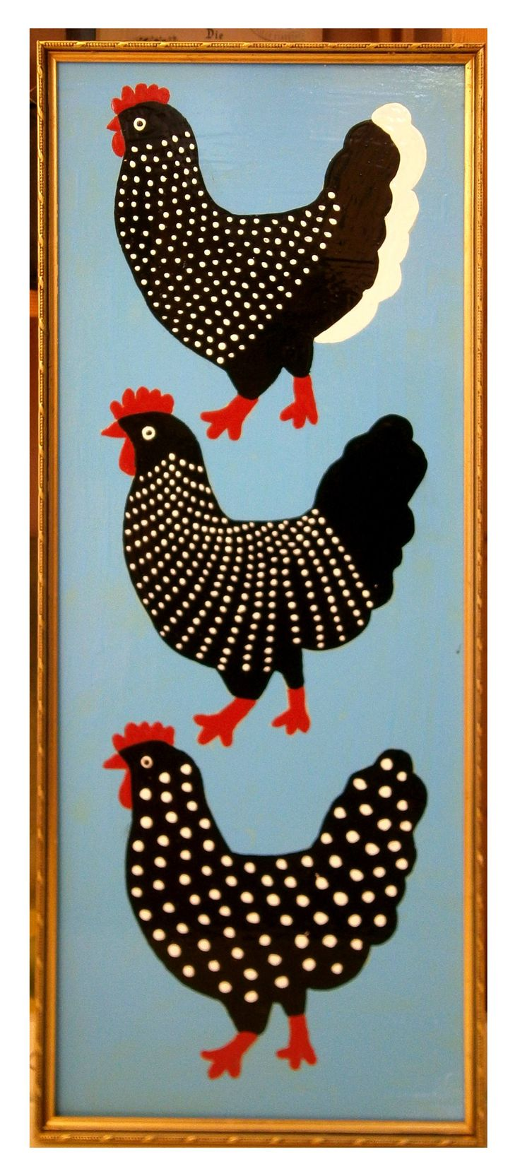 """Buy chicken in a """"golden"""" frame, a Oil on by Margret Scherg from . It portrays: Animal, relevant to: painting, black and white , old frame, chicken, oil oil on hardboard"""