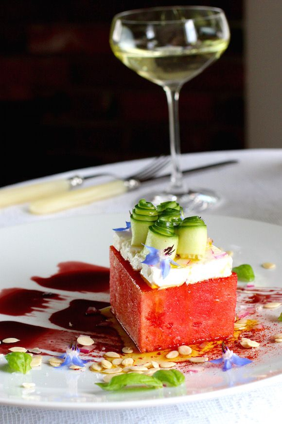 Unique Watermelon Brick, Pomegranate Syrup, Feta, Cucumber Salad #summersoiree #watermelon