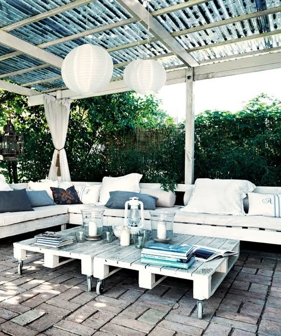 pergola, seating, outdoor room, pallets
