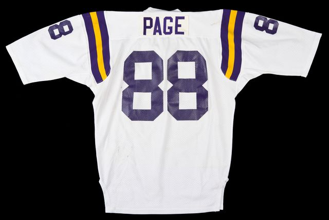 "Minnesota Vikings ""away game"" jersey worn by defensive tackle #88 Alan Page, ca. 1973. Minnesota Historical Society 3D Objects Collection."