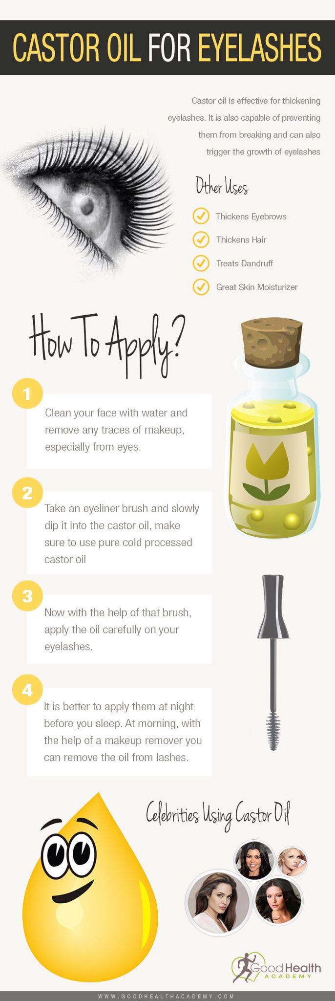 Castor oil application on eyelashes