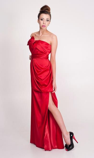 Bow Dress: Amazing detail with the drape at front split. Ball dress, cocktail dress and evening wear designed in Perth