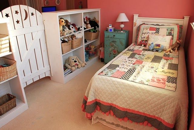 girls bedroom - how cute is the little gate?  would be a darling idea for a bonus room turned double kids room!