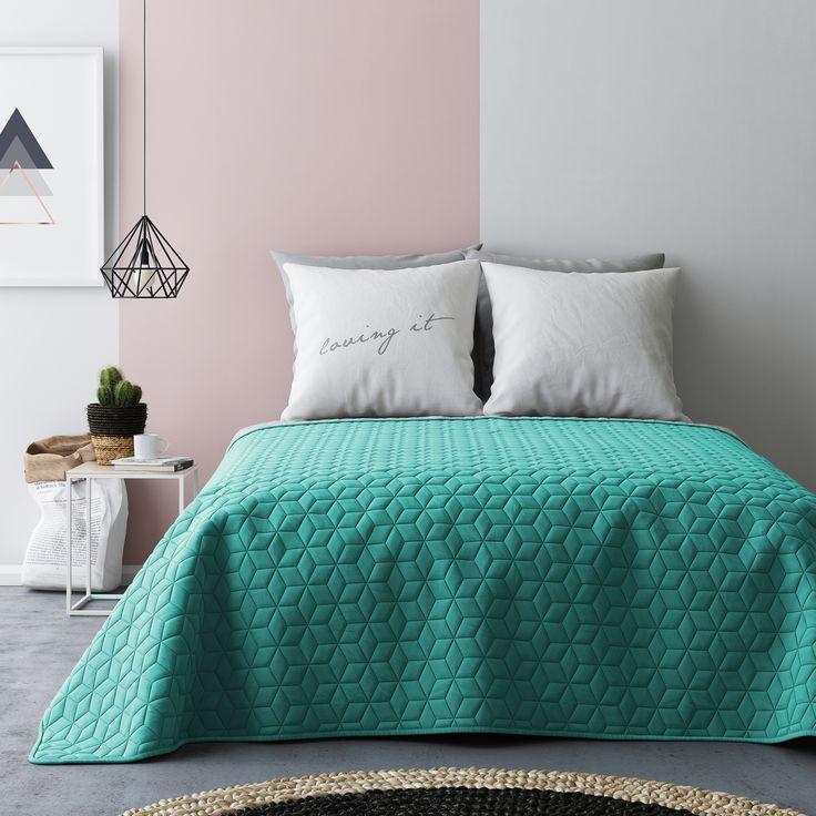 Narzuta francuska na łóżko w kolorze turkusowo szarym