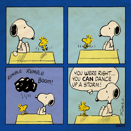 """""""You CAN dance up a storm"""", Snoopy gets a dance from Woodstock."""