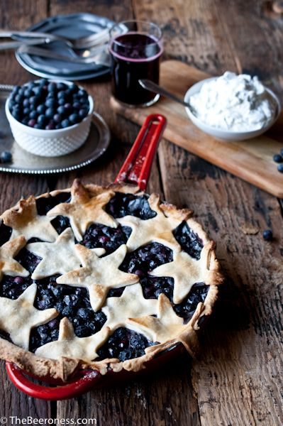 Blueberry Cider Skillet Pie with Lime Basil Whipped Cream