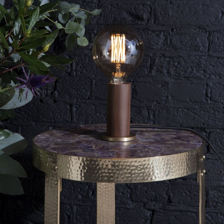 Tala Walnut and Brass Touch Lamp with 3 Stage Dimming - Fitting Type from Dusk Lighting UK