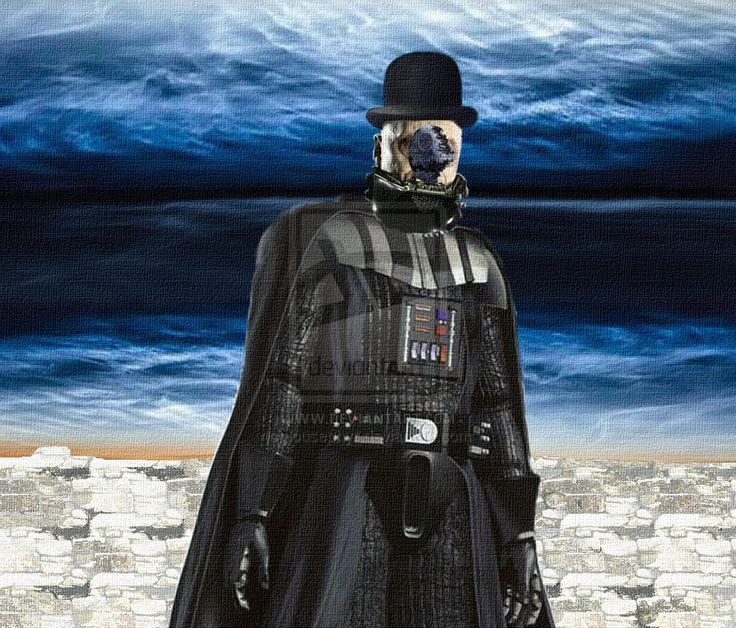 """Man in a Bowler Hat; Parody of Renee Magritte painting """"Man in a Bowler Hat""""   Darth Vader unmasked in Bowler Hat; DeathStar in place of Magritte's Dove;"""