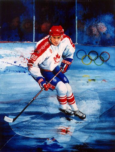 ERIC LINDROS Olympic Action Hockey Painting ~ Koehler Art Studio Gallery