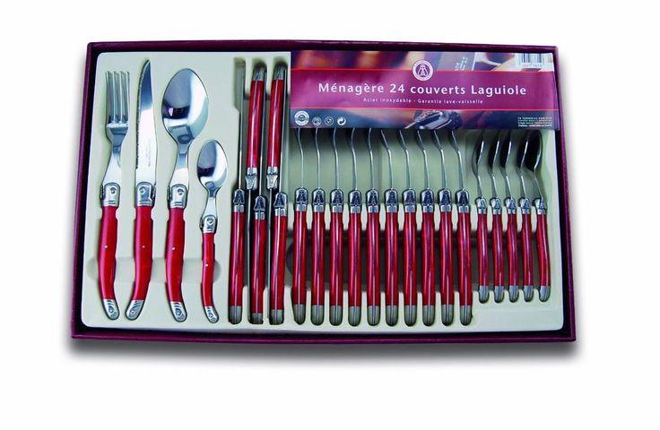 Ménagère Laguiole Ménagère 24 Pièces: Couverts de Table Rouge Inox