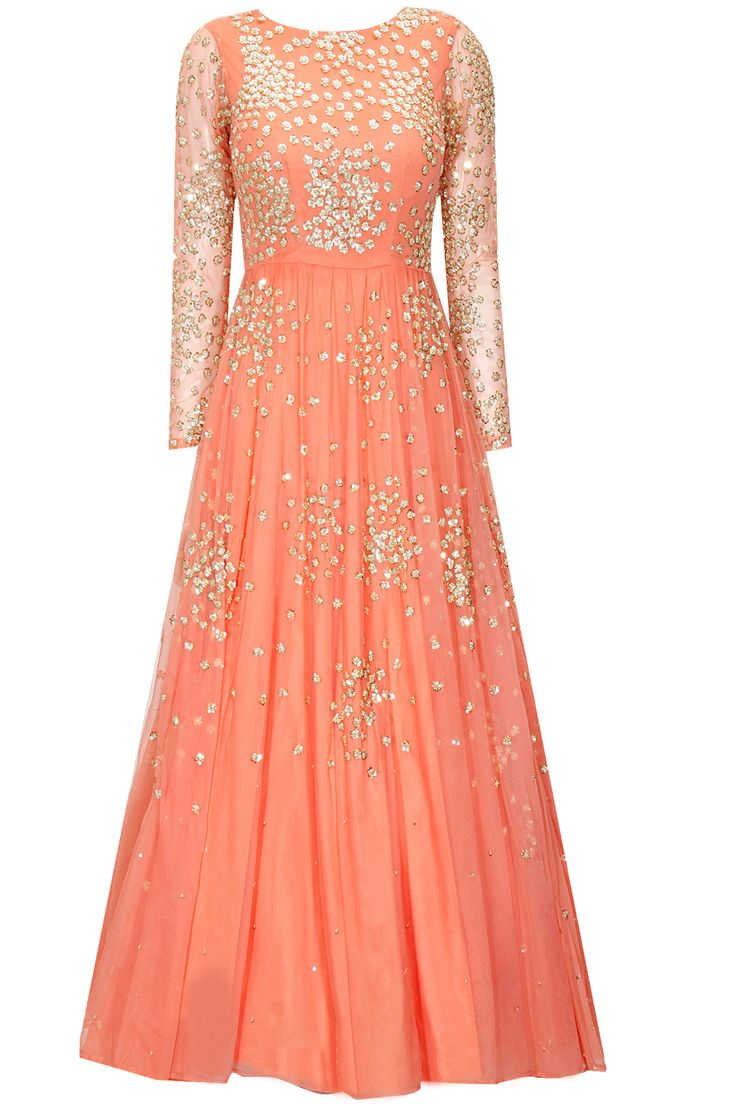 Coral peach shimmer anarkali gown by Astha Narang. Shop now: http://www.perniaspopupshop.com/designers/astha-narang #anarkali #asthanarang #shopnow #perniaspopupshop