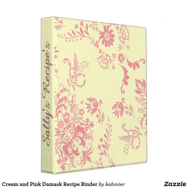 Cream and Pink Damask Custom Binder 15% off